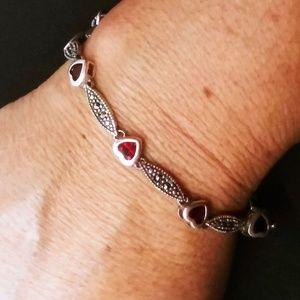 Vtg. Sterling and garnet bracelet